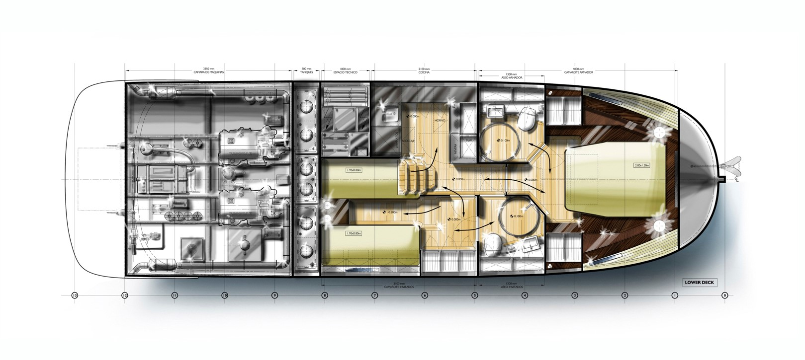 Minorca Islander 42 Flybridge - Lower Level layout