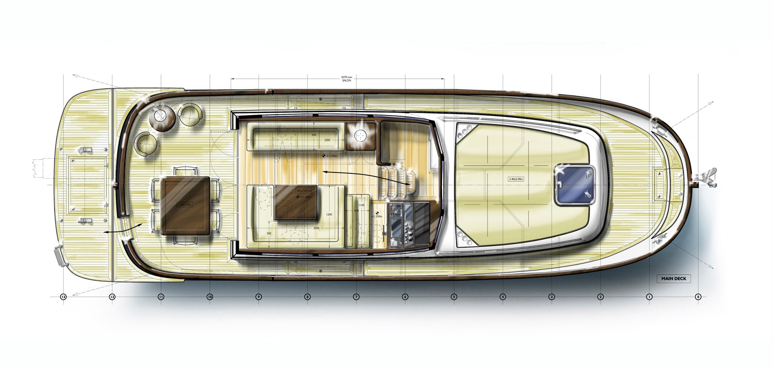 Minorca Islander 42 Flybridge - main deck layout
