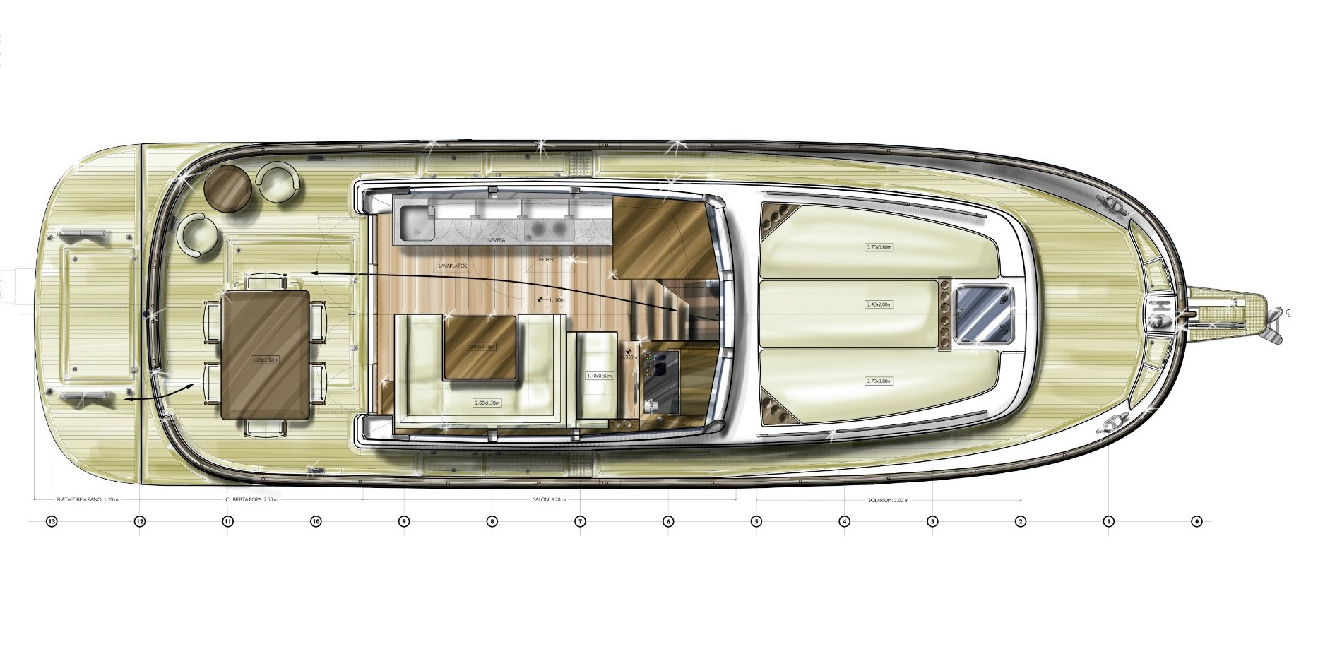Minorca Islander 42 Flybridge - layout optional galley