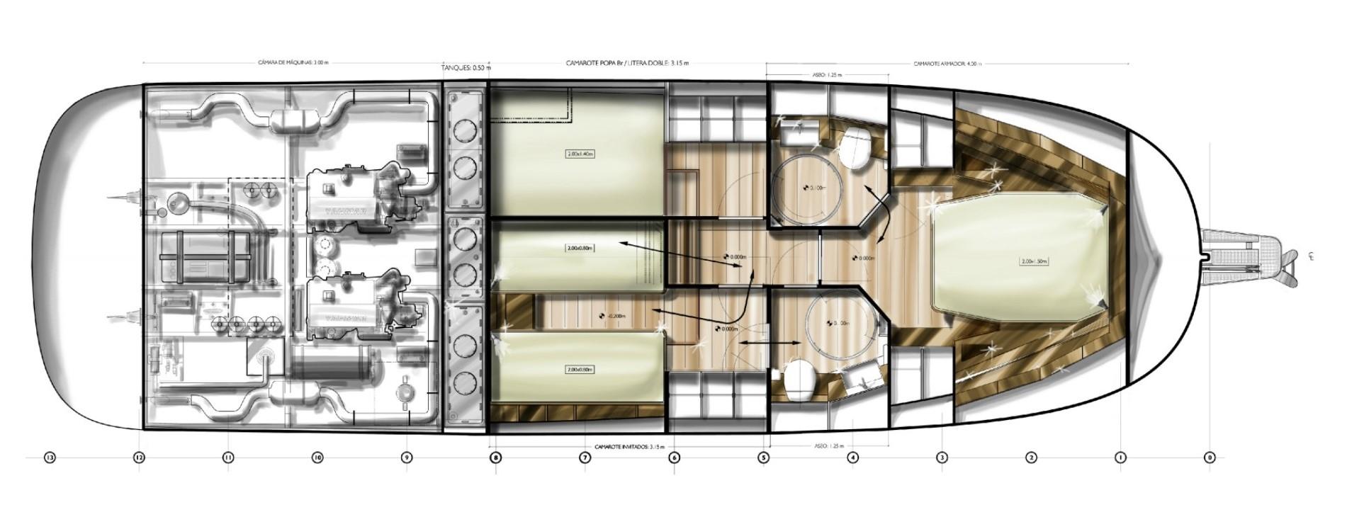 minorca islander 42 hardtop layout lower deck with 3 cabin option