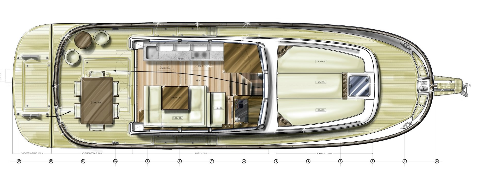 minorca islander 42 hardtop layout main deck galley option