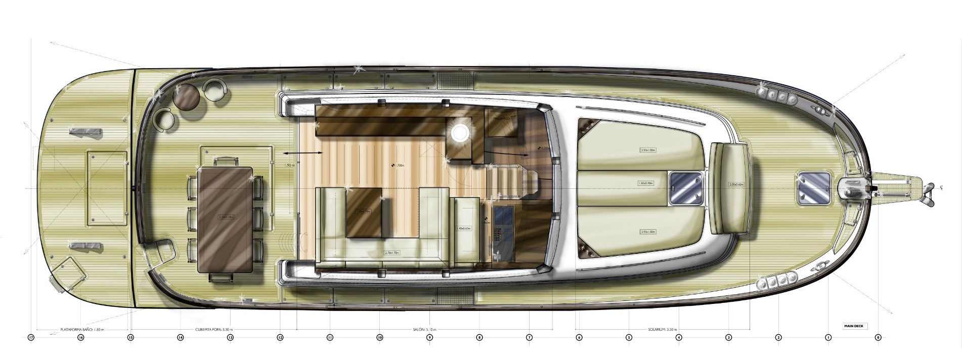 minorca islander 54 flybridge main deck layout 2