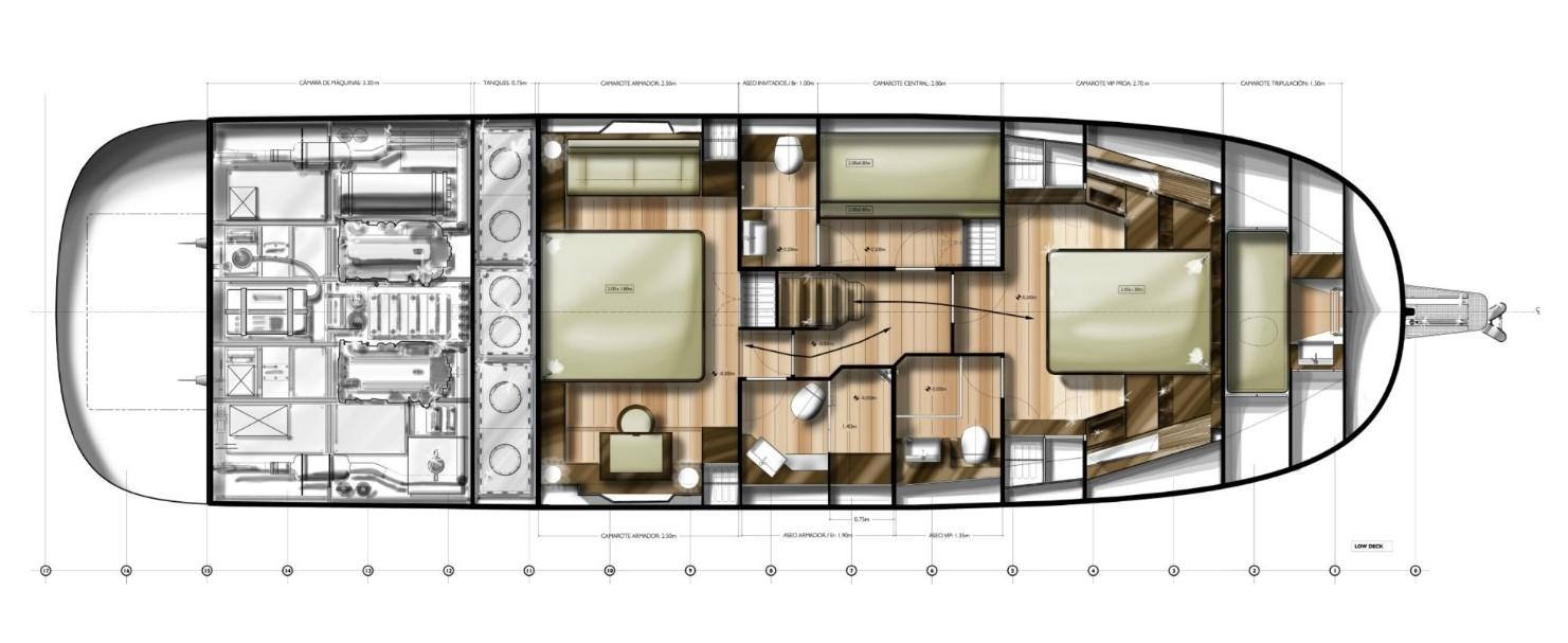 minorca islander 54 hardtop lower deck layout stern cabin