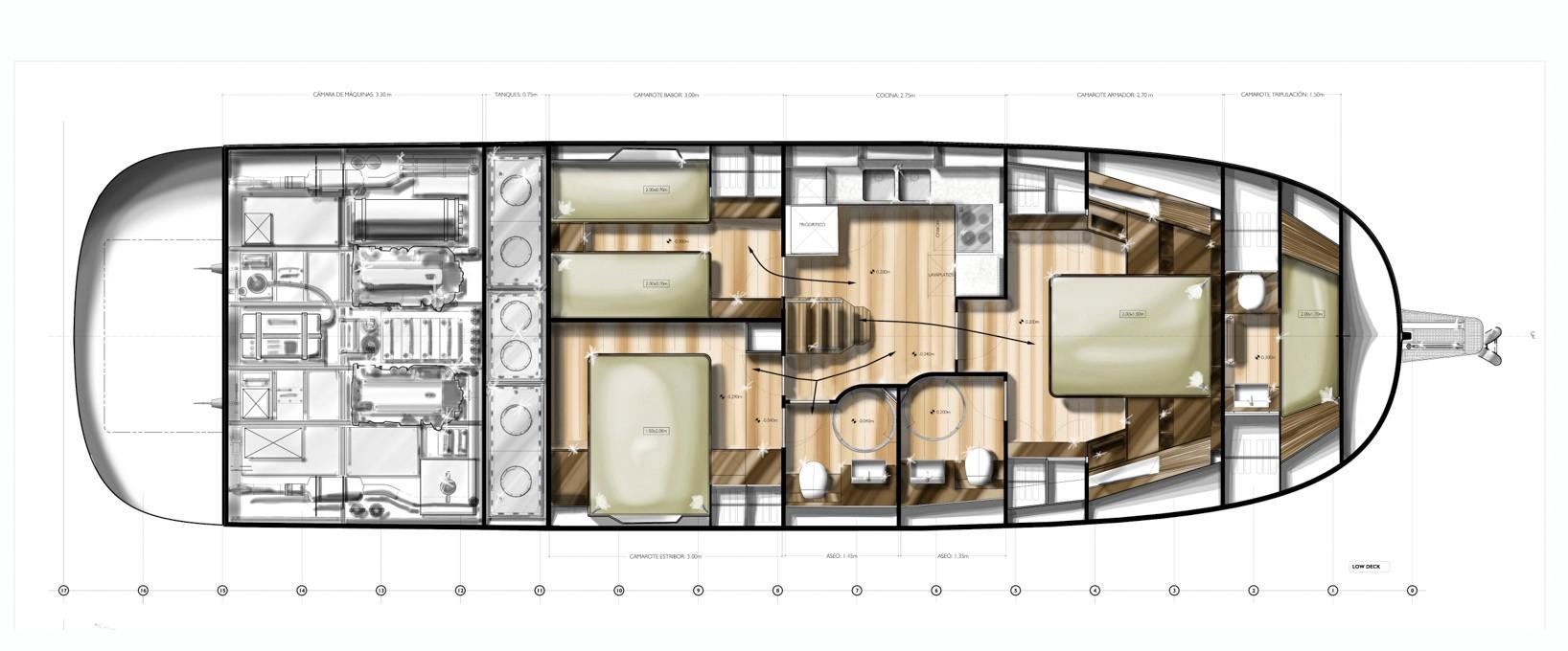 minorca islander 54 hardtop lower deck layout