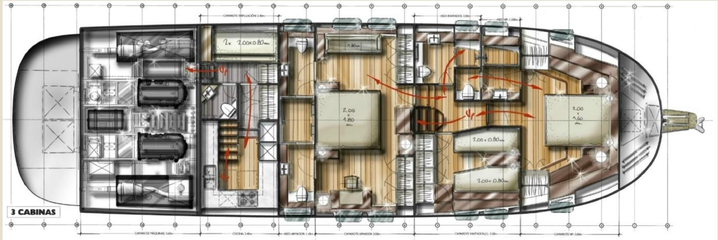 minorca islander 68 lower deck 3 cabin layout