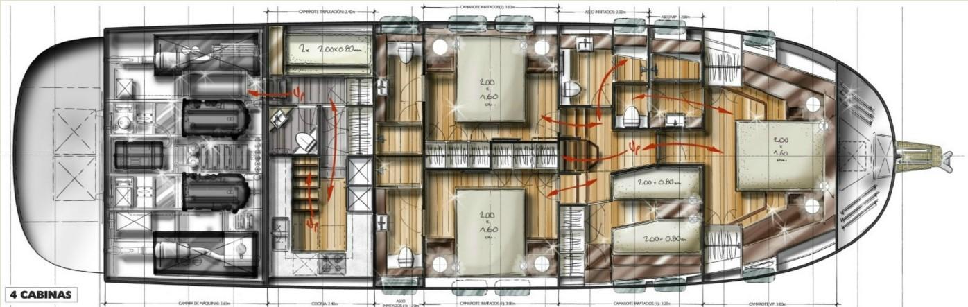 minorca islander 68 lower deck 4 cabin layout